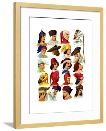 Men's Hats of Different Classes of Society, 13th-16th Century-Thurwanger Freres-Framed Giclee Print