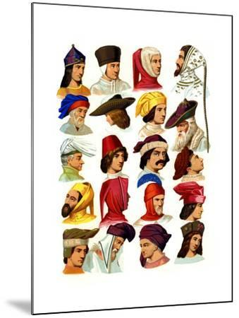 Men's Hats of Different Classes of Society, 13th-16th Century-Thurwanger Freres-Mounted Giclee Print