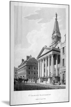 View of the Church of St George, Bloomsbury, London, 1799-Thomas Malton II-Mounted Giclee Print