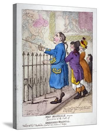 John Rosedale, Mariner, Exhibitor of the Hall of Greenwich Hospital, 1807-Thomas Rowlandson-Stretched Canvas Print