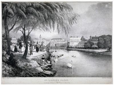 View of St James's Park and Buckingham Palace, Westminster, London, C1830-Thomas Mann Baynes-Framed Giclee Print