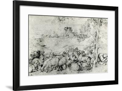 Landscape with Flock of Sheep, C1520-Titian (Tiziano Vecelli)-Framed Giclee Print