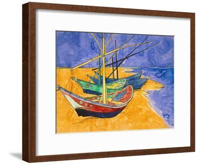 Boats on the Beach of Les-Saintes-Maries, 1888-Vincent van Gogh-Framed Premium Giclee Print