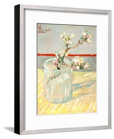 Sprig of Flowering Almond Blossom in a Glass, 1888-Vincent van Gogh-Framed Premium Giclee Print
