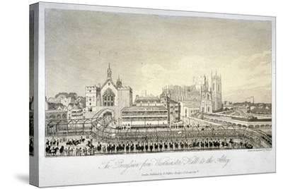 Procession Outside Westminster Hall, London, 1821-W Read-Stretched Canvas Print