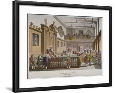 Interior View of the College of Arms' Hall with Figures Engaged in Discussion, City of London, 1808-Thomas Rowlandson-Framed Giclee Print