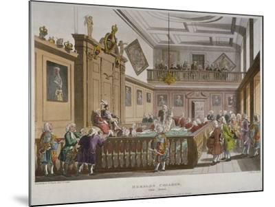 Interior View of the College of Arms' Hall with Figures Engaged in Discussion, City of London, 1808-Thomas Rowlandson-Mounted Giclee Print
