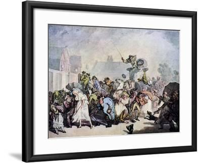 A Squall in Hyde Park, 1791-Thomas Rowlandson-Framed Giclee Print