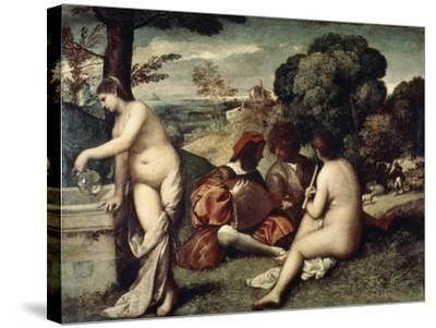 Concert Champetre, (The Pastoral Concert), C1510-1511-Titian (Tiziano Vecelli)-Stretched Canvas Print