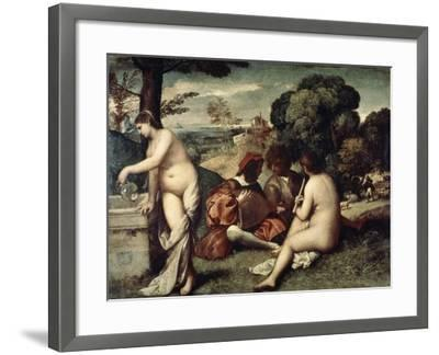 Concert Champetre, (The Pastoral Concert), C1510-1511-Titian (Tiziano Vecelli)-Framed Giclee Print