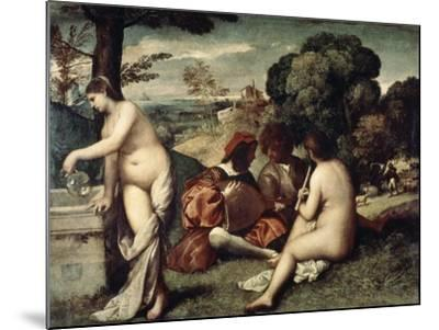 Concert Champetre, (The Pastoral Concert), C1510-1511-Titian (Tiziano Vecelli)-Mounted Giclee Print