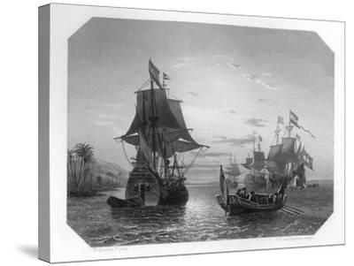 The First Dutch Ship in East Indies, 1596-Van Kesteren-Stretched Canvas Print