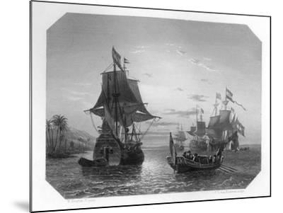 The First Dutch Ship in East Indies, 1596-Van Kesteren-Mounted Giclee Print