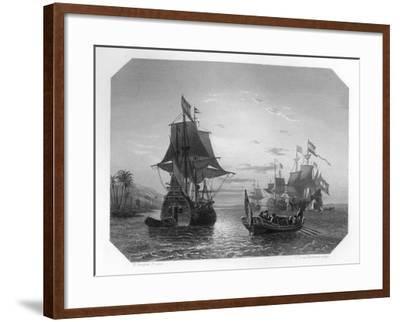 The First Dutch Ship in East Indies, 1596-Van Kesteren-Framed Giclee Print