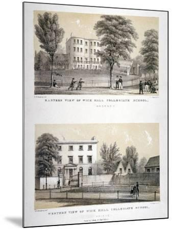 Two Views of Wick Hall Collegiate School, Hackney, London, C1830-TJ Rawlins-Mounted Giclee Print