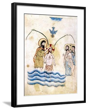 The Baptism of Jesus by St John the Baptist, C1334-Vardan Lorets'i-Framed Giclee Print