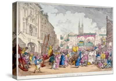 Bartholomew Fair, West Smithfield, City of London, 1813-Thomas Rowlandson-Stretched Canvas Print