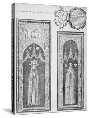 Brasses of John Newcourt and Brome Whorewood in Old St Paul's Cathedral, City of London, 1656-Wenceslaus Hollar-Stretched Canvas Print
