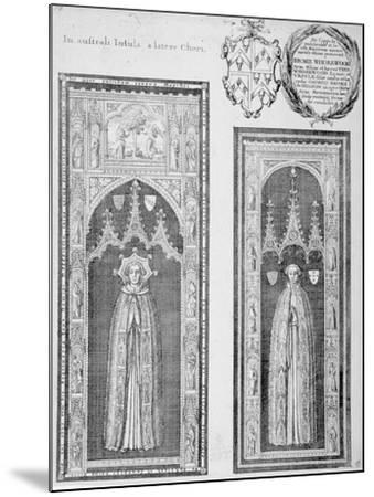 Brasses of John Newcourt and Brome Whorewood in Old St Paul's Cathedral, City of London, 1656-Wenceslaus Hollar-Mounted Giclee Print