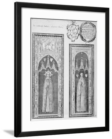 Brasses of John Newcourt and Brome Whorewood in Old St Paul's Cathedral, City of London, 1656-Wenceslaus Hollar-Framed Giclee Print
