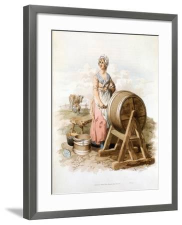 Women Making Butter, 1808-William Henry Pyne-Framed Giclee Print