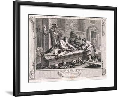 The Idle Prentice at Play in the Church Yard ..., Plate III of Industry and Idleness 1747-William Hogarth-Framed Giclee Print