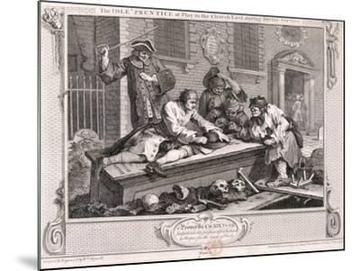 The Idle Prentice at Play in the Church Yard ..., Plate III of Industry and Idleness 1747-William Hogarth-Mounted Giclee Print