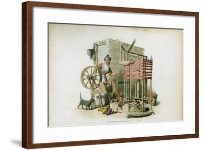 The Worsted Winder, 1805-William Henry Pyne-Framed Giclee Print