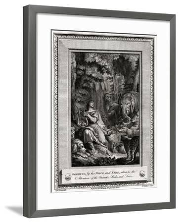 Orpheus, by His Voice and Lyre, Attracts the Attention of the Animals, Rocks and Trees, 1774-W Walker-Framed Giclee Print