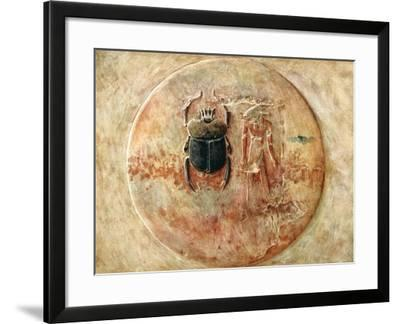 Scarab and Ra, Tomb of Seti, Egypt, 1910-Walter Tyndale-Framed Giclee Print