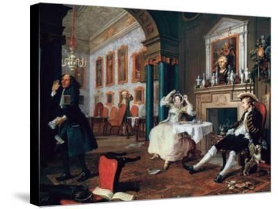 Marriage A-La-Mode: 2, the Tete a Tete, 1743-William Hogarth-Stretched Canvas Print