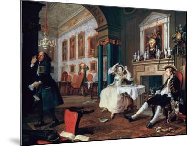 Marriage A-La-Mode: 2, the Tete a Tete, 1743-William Hogarth-Mounted Giclee Print
