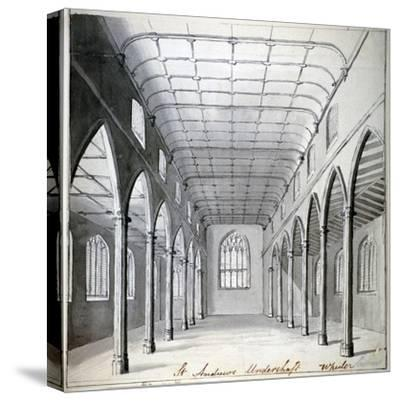 Interior View of the Church of St Andrew Undershaft, Leadenhall Street, London, C1820-Wheeler-Stretched Canvas Print