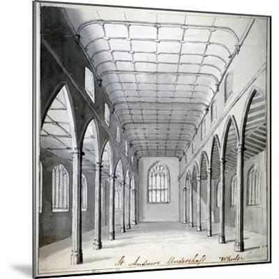 Interior View of the Church of St Andrew Undershaft, Leadenhall Street, London, C1820-Wheeler-Mounted Giclee Print