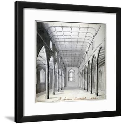 Interior View of the Church of St Andrew Undershaft, Leadenhall Street, London, C1820-Wheeler-Framed Giclee Print