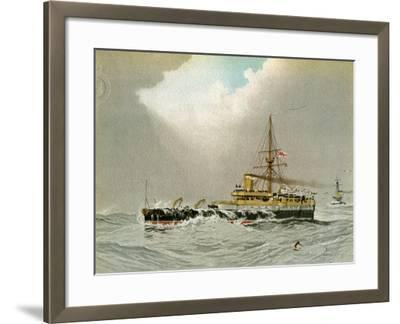 HMS Hero, Royal Navy 2nd Class Battleship, C1890-C1893-William Frederick Mitchell-Framed Giclee Print