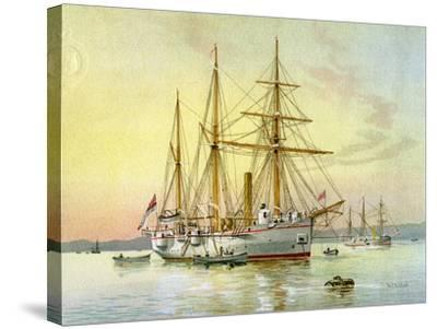 HMS Bramble, Royal Navy 1st Class Gunboat, C1890-C1893-William Frederick Mitchell-Stretched Canvas Print