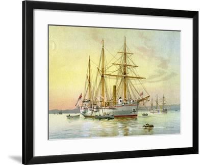 HMS Bramble, Royal Navy 1st Class Gunboat, C1890-C1893-William Frederick Mitchell-Framed Giclee Print