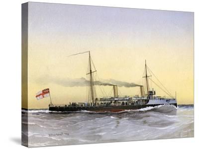 HMS Speedwell, Royal Navy Torpedo Gunboat, 1892-William Frederick Mitchell-Stretched Canvas Print
