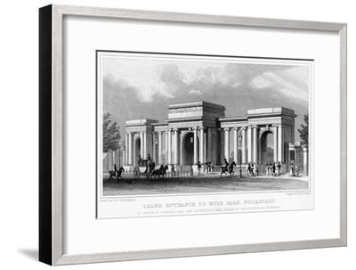Grand Entrance to Hyde Park, Piccadilly, Westminster, London, 19th Century-W Wallis-Framed Giclee Print