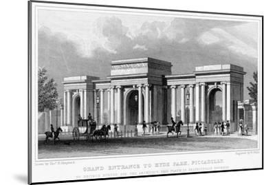 Grand Entrance to Hyde Park, Piccadilly, Westminster, London, 19th Century-W Wallis-Mounted Giclee Print