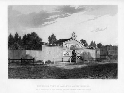 Exterior View of Astley's Amphitheatre in London as it Appeared in 1777-William Capon-Framed Giclee Print