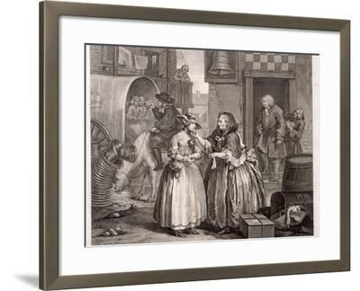 Innocence Betrayed, or the Journey to London, Plate I of the Harlot's Progress, 1732-William Hogarth-Framed Giclee Print