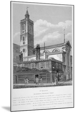 View of St Dionis Backchurch from Fenchurch Street, City of London, 1813-William Wise-Mounted Giclee Print