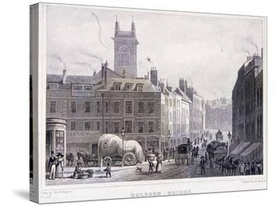 Holborn Bridge, London, C1830-William Woolnoth-Stretched Canvas Print