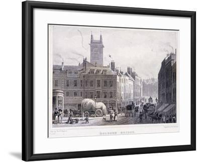 Holborn Bridge, London, C1830-William Woolnoth-Framed Giclee Print