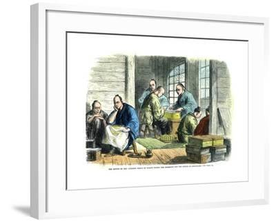 Envoys of the Japanese Prince of Nagato Paying the Indemnity for the Affair of Simonosaki, 1865--Framed Giclee Print
