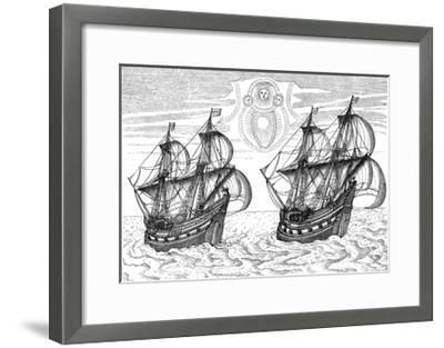 Ships of Willem Barents' Expedition to the Arctic, 1596--Framed Giclee Print