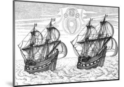 Ships of Willem Barents' Expedition to the Arctic, 1596--Mounted Giclee Print