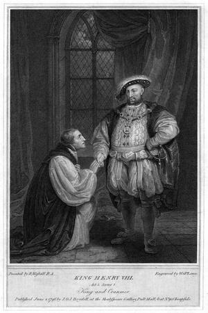 King Henry VIII (1491-154) and Thomas Cranmer (1489-155), 1796-William Satchwell Leney-Framed Giclee Print
